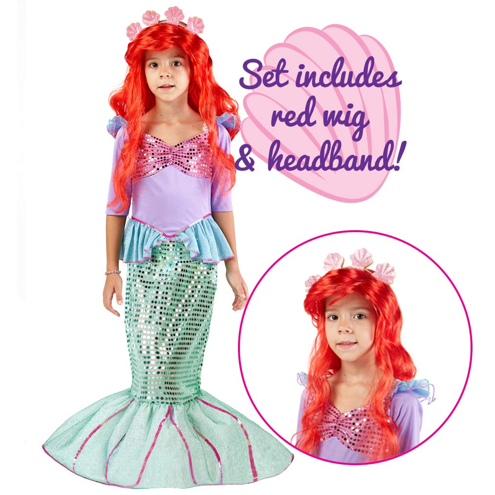 Spooktacular Creations Deluxe Mermaid Costume Set with Red Wig and Headband (Toddler (3-4))