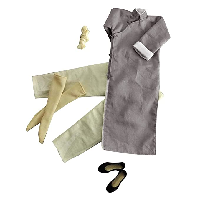 515861a5c2 Amazon.com  Jili Online 1 6 Long Sleeve Gray Chinese-style Costume Bruce  Lee Kung Fu Suit 12   Action Figure  Toys   Games