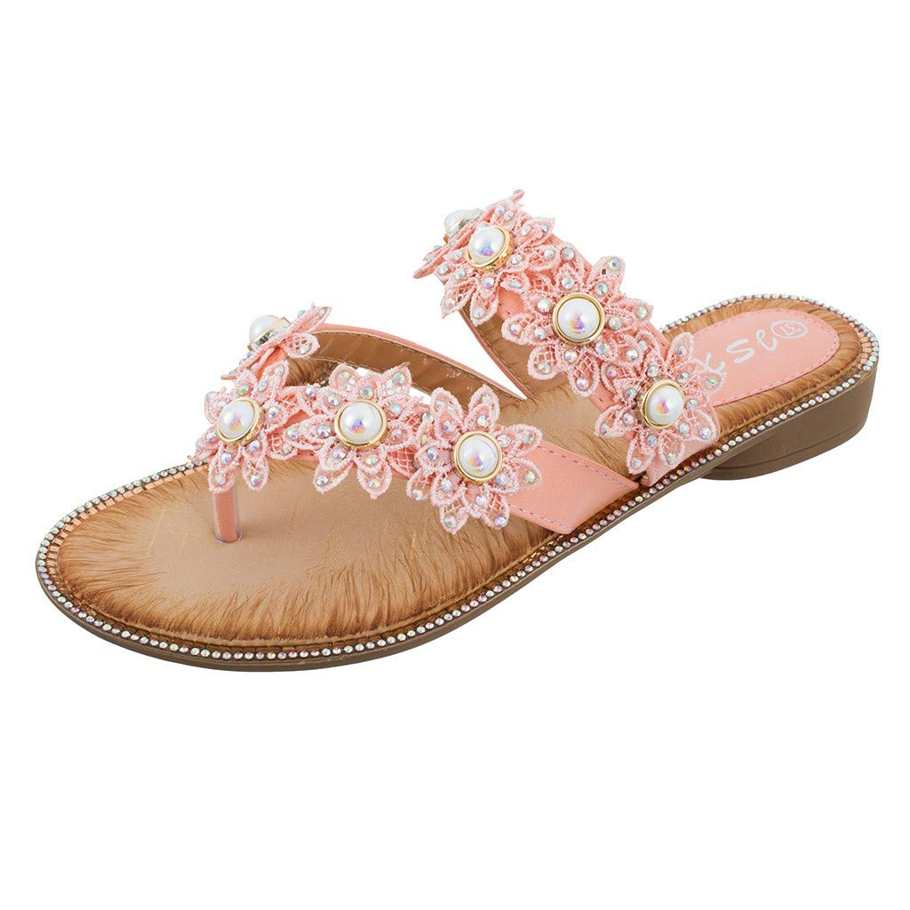 Women Flat Beach Slippers,❤️ FAPIZI Girls Flower Crystal Clip Toe Rome Sandals Summer Casual Boho Beach Shoes Flip Flops Pink