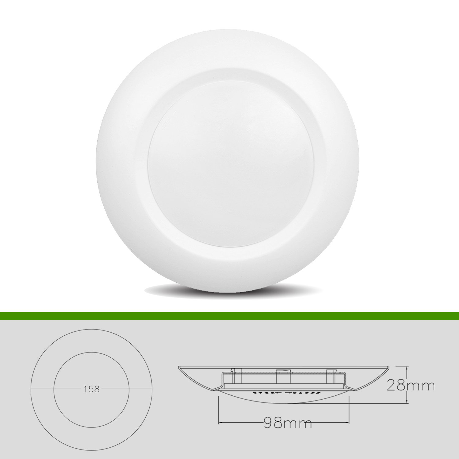 JULLISON 6 Packs 4 Inch LED Low Profile Recessed & Surface Mount Disk Light, Round, 10W, 600 Lumens, 3000K Warm White, CRI80, DOB Design, Dimmable, Energy Star, ETL Listed, White ... by JULLISON (Image #4)