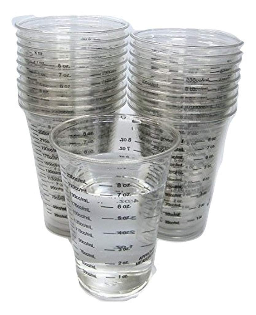 20 8oz Disposable Graduated Clear Plastic Cups for Mixing Paint, Stain, Epoxy, Resin