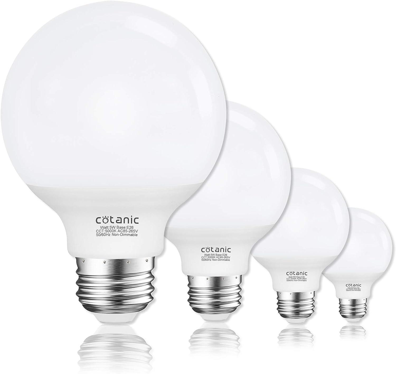 Vanity Light Bulb 5000k Daylight G25 Led Globe Light Bulbs For Bathroom Vanity Mirror Cotanic E26 Medium Base 5w 60w Incandescent Equivalent 500lm Non Dimmable 4 Pack Amazon Com