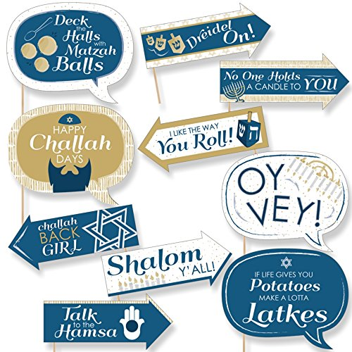 Funny Happy Hanukkah - Chanukah Photo Booth Props Kit - 10 (Hanukkah Holiday Photo)