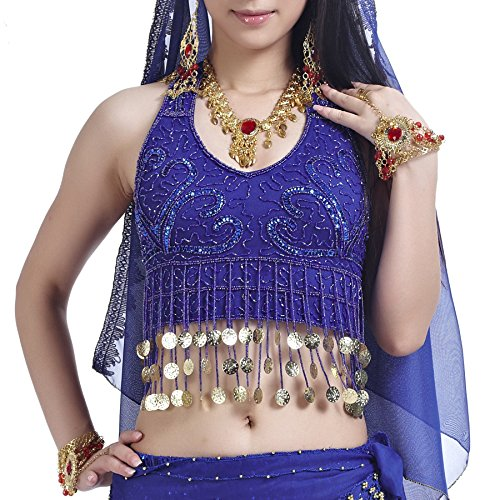 [BellyLady Tribal Belly Dance Costume Halter Coins Bra Top, Gift Idea NAVYBLUEGOLDCOINS] (Belly Dance Costumes Bra)