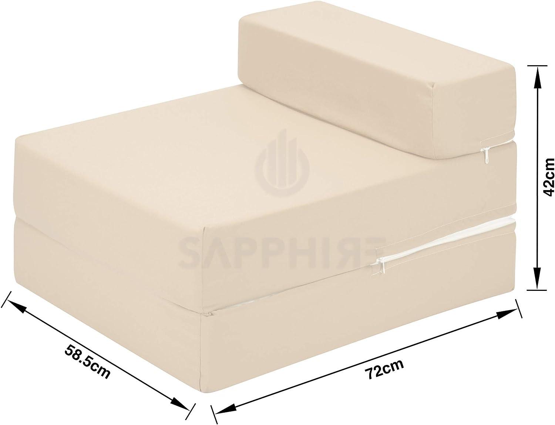beige Zaffiro 100/% cotone Z letto singolo pieghevole sedia letto letto ospiti futon divano letto letto pieghevole schiuma morbido confortevole con una copertura rimovibile con cerniera 10 colori