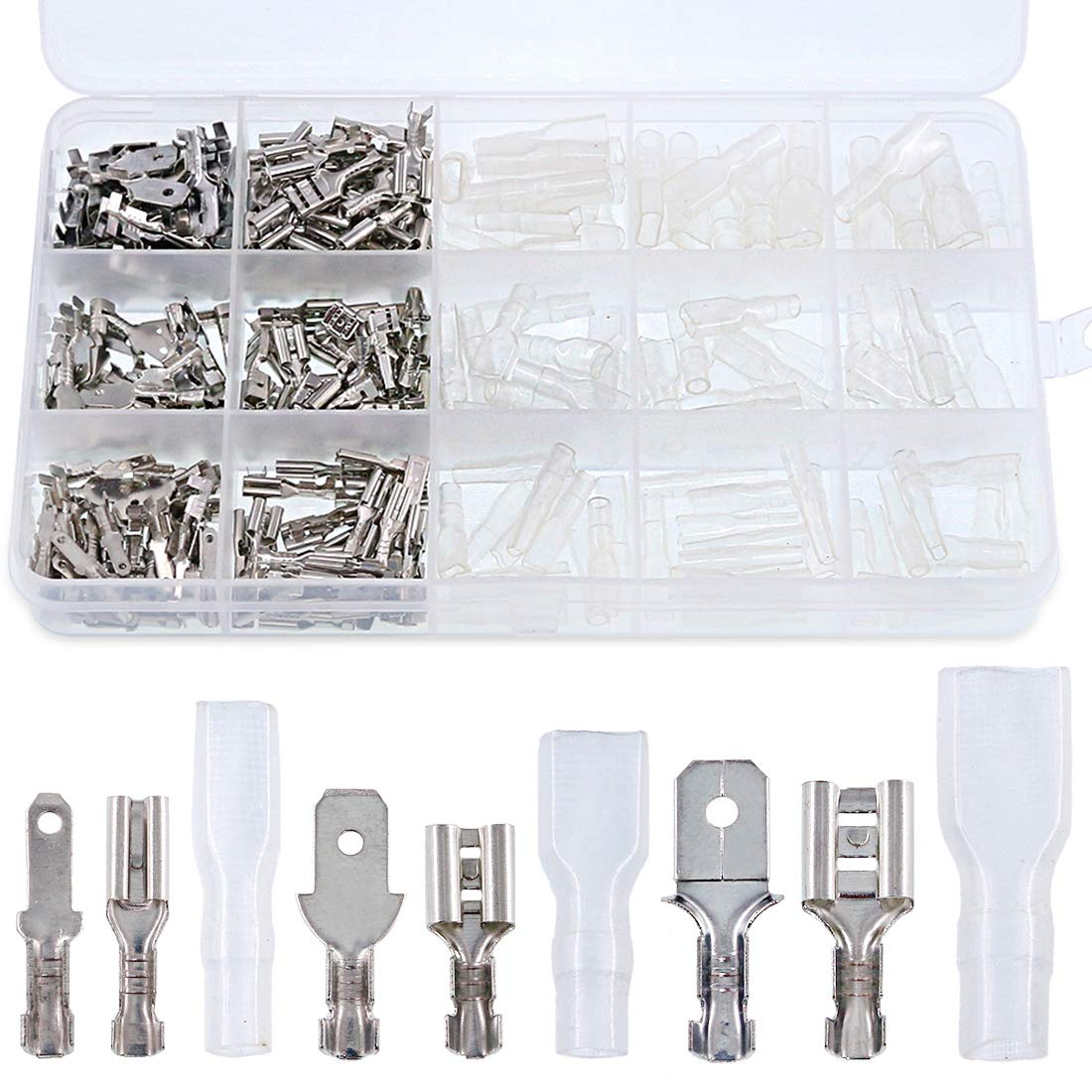 Glarks 315Pcs Quick Splice 2.8mm 4.8mm 6.3mm Male and Female Wire Spade Connector Wire Crimp Terminal Block with Insulating Sleeve Assortment Kit