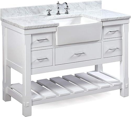 Charlotte 48-inch Bathroom Vanity Carrara/White : Includes White Cabinet