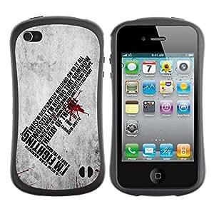 "Hypernova Slim Fit Dual Barniz Protector Caso Case Funda Para Apple iPhone 4 / iPhone 4S [¿YO? Luchar mensaje profundo""]"