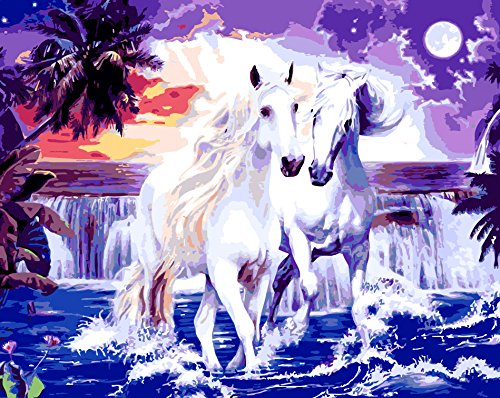JynXos Wooden Framed Paint By Number Horses Linen Canvas DIY Painting - Couple White Horse