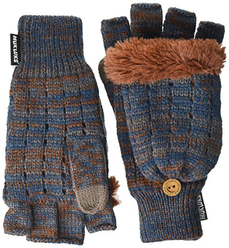 Muk Luks Women's Pennies From Heaven Flip Mittens-Waffle Texture, Night, One Size