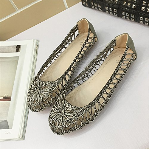 YFF Women 's retro flat heels retro 's hollow head round shallow mouth women' s flat shoes,white , 36 casual all-match B072XJ8DFB Parent 5a5a3c