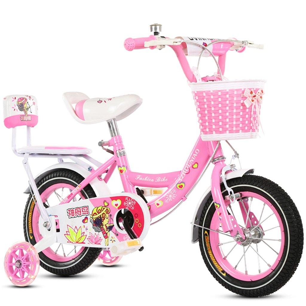 子供の自転車12/18インチメンズと女性の自転車2-4/6-11歳のベビーバイクハイカーボンスチールフレーム、ピンク/ブルー (Color : 18 inch pink) B07D1K9TXR