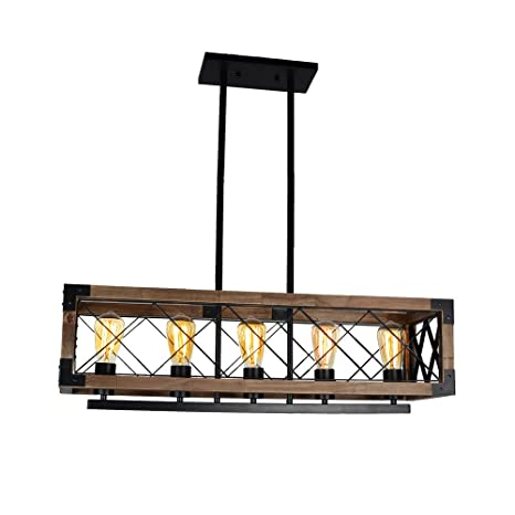 Baiwaiz Rustic Kitchen Island Lighting, 5 Light Square Metal And Wood  Pendant Lighting Farmhouse Industrial