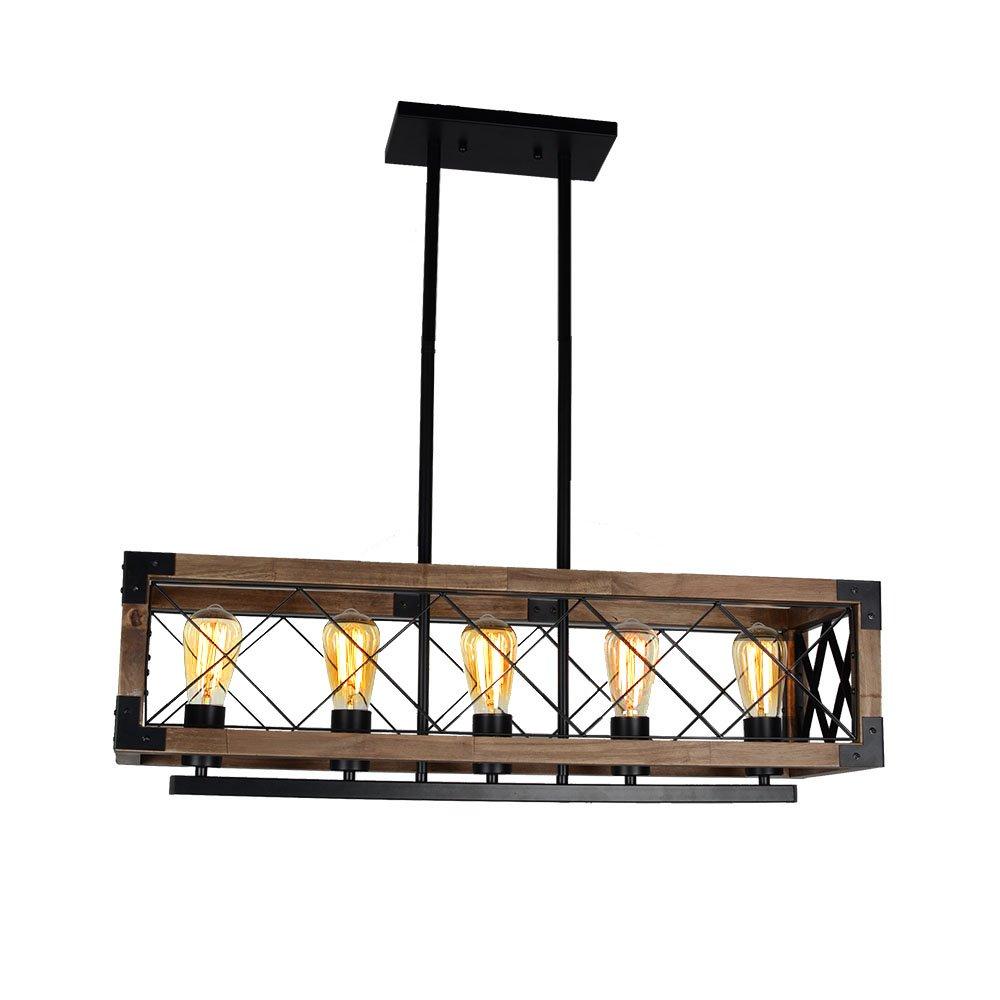 Baiwaiz Rustic Kitchen Island Lighting, 5 Light Rectangle Metal and Wood Linear Chandelier Black Finish Edison Base BW17032