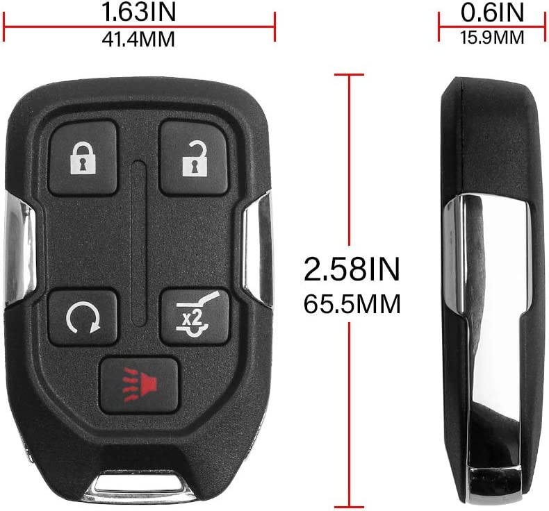 5 Buttons Key Fob Compatible with 2018 2019 2020 GMC Terrain 2017 to 2019 GMC Acadia