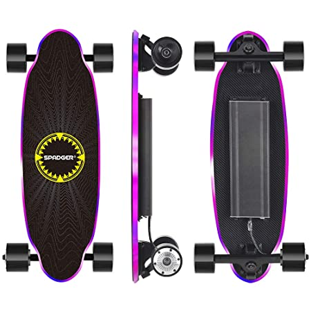 Spadger D5X Electric Skateboard, 20 Electric Longoard, 12.5MPH Top Speed 6.5 Miles Range, 150W Motor with 70MM PU Wheel, 10LBS Load up to 220LBS, Built-in LED Light with Remote Control
