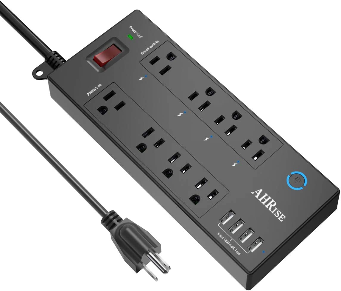Smart Plug, Power Strip, AHRISE WiFi Surge Protector 1680 Joules with 4 Smart Outlets and 4 Always on outlets and 4 USB Ports Smart 4.8A 24W Total , 6ft Extension Cord, 1875W 15A, Black