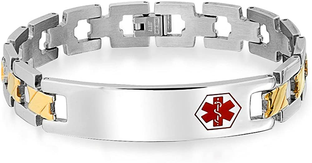 Personalize Medical Identification Doctors Alert ID Cross U Link Bracelet for Men 2 Tone Gold Steel 8in Custom Engraved
