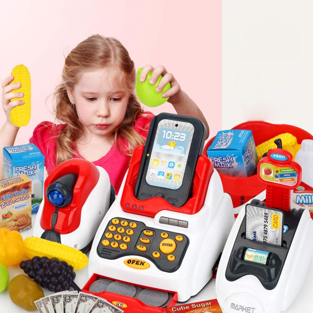 TiTa-Dong Kids Cash Register Toy Playset, Children Supermarket Checkout Toy with Lights Sounds Scanner Redit Card Reader and Groceries, Pretend Play Restaurant/Grocery/Supermarket Cashier Toy by TiTa-Dong (Image #7)
