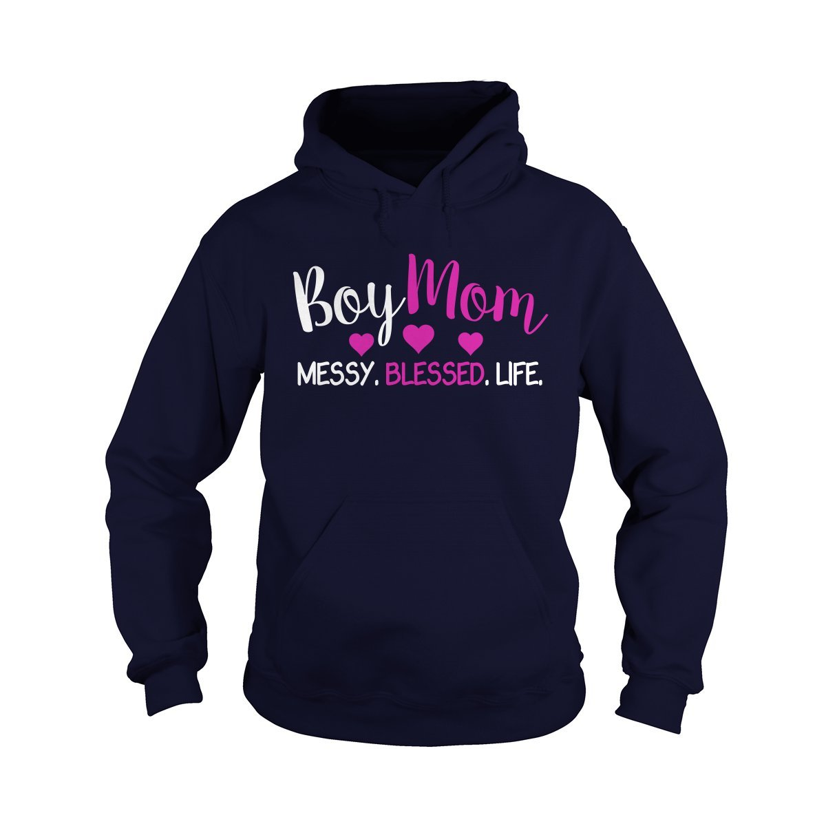 Hoodie Navy blueee XLarge Boy mom Messy Blessed Life TShirt