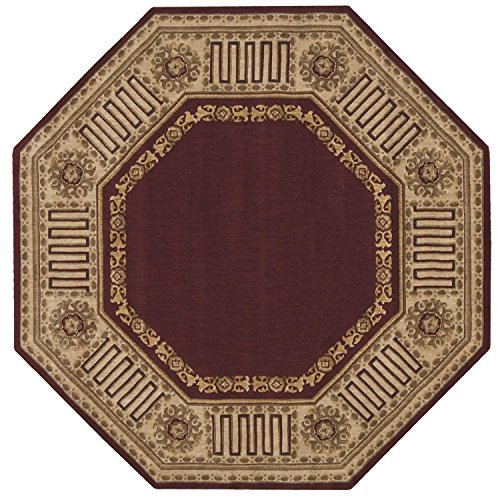 5'6 Octagon Area Rug (Nourison Vallencierre (VA17) Burgundy Octagon Area Rug, 5-Feet 6-Inches by 5-Feet 6-Inches (5'6