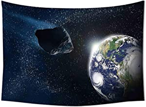 JIMMY MONTGOMERY Galaxy Tapestry Wall Hanging Attack of The Asteroid Rocky Body Comet on Planet Earth Meteor Shower Display Print Bedroom Living Room Dorm Decor Dark Blue Grey