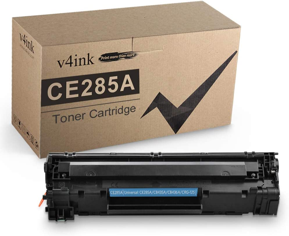 V4INK Compatible Toner Cartridge Replacement for HP 85A CE285A 35A CB435A 36A CB436A Canon 125 for HP Laserjet P1102w M1212NF M1217nfw P1505 M1522nf P1109w P1006 Canon MF3010 LBP6000 (Black 1 Pack)