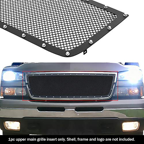 APS Compatible with 2006 Chevy Silverado 1500 05-06 2500 3500 Rivet Stud Black Mesh Grille Insert CL6576H