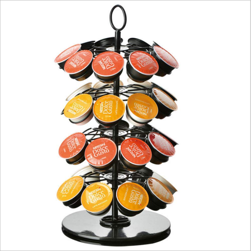 Coffee Storage Carousel, Stainless Steel Coffee Pod Holder with Hang Hole for K-Cup Pods - Coffee Organizer 36 Pod Capacity, Black