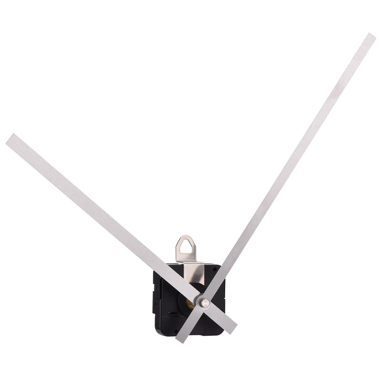 Alta Torsione Orologio Movimento al Quarzo Meccanismo Motore con 250 mm/9.8 Pollici Lunghe Lancette Diritte (Argento) Mudder