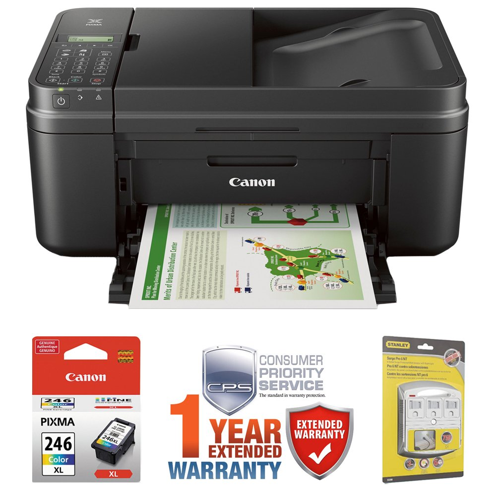 Canon PIXMA MX492 WiFi All-In-One Compact Size Inkjet Printer (0013C002) w COLOR Ink Bundle Includes, Genuine COLOR Ink Cartridge, 6-Outlet Surge Adapter & 1 Year Extended Warranty