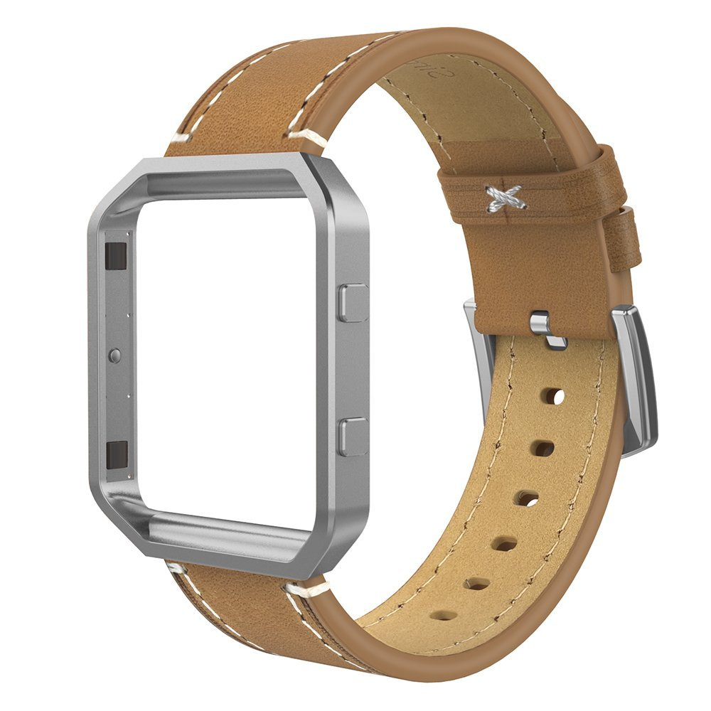 Beige//Black//Brown//Leopard//Grey Simpeak Leather Band with Case Compatible with Fitbit Blaze Smartwatch Genuine Leather Band Replacement for Fitbit Blaze Fitness Tracker Large and Small