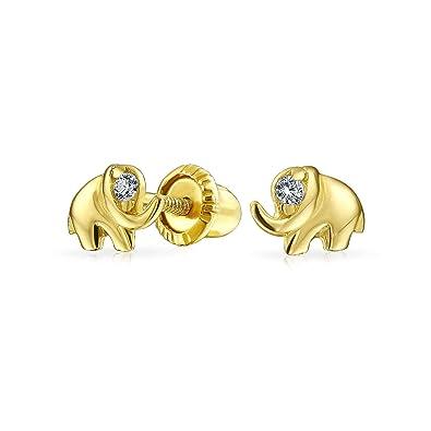 07662485b Amazon.com: Tiny Lucky Elephant Shape Stud Earrings Girls Cubic ...