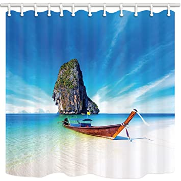 NYMB Tropical Island Shower Curtains For Bathroom Wooden Boat On Exotic Beach With Blue Sky