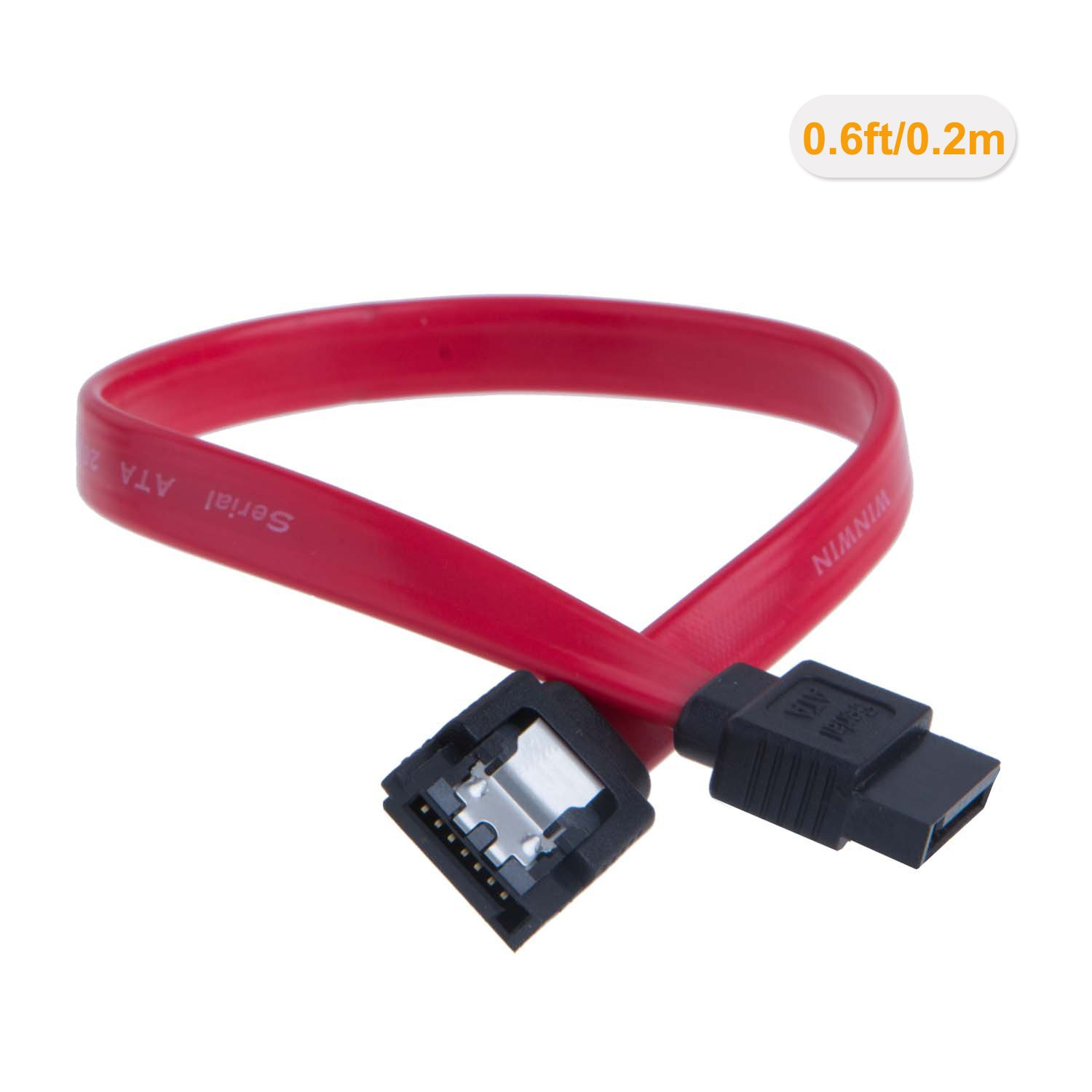 18-inch SATA III 6.0 Gbps 7pin Female to Female Data Cable with Locking Latch CableCreation SATA III Cable, Red 5-Pack
