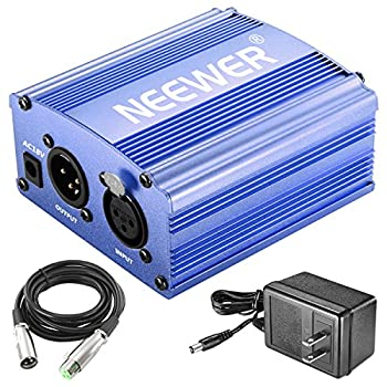 Neewer 1-channel 48v Phantom Power Supply With Adapter & Xlr Audio Cable For Any Condenser Microphone Music Recording Equipment (Blue) 0
