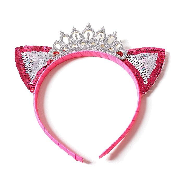 Amazon.com: Baby Toddler Girls Cute Headband Silver Glitter Crown Pink Cat Ear Hair Hoop Urchart (Pink): Clothing