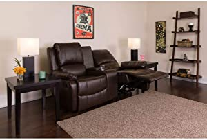 Flash Furniture Allure Series 2-Seat Reclining Pillow Back Brown LeatherSoft Theater Seating Unit with Cup Holders