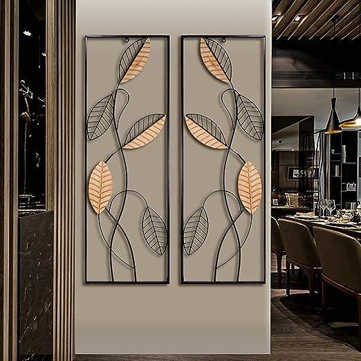 Metal Wood Wall Panel Décor, Black Metal Wall Art Panel Art, Rectangular  Wall Sculptures, Wooden and Metal Leaves Wall Décor Wall Grille Art for