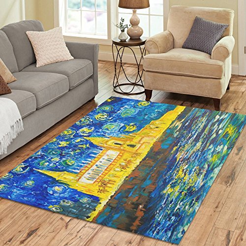 ADEDIY Personalized Rug The Catholic Temple on an Ocean Coast Area Rug 7'x5' Floor Rug for Living Room Bedroom by Artsadd