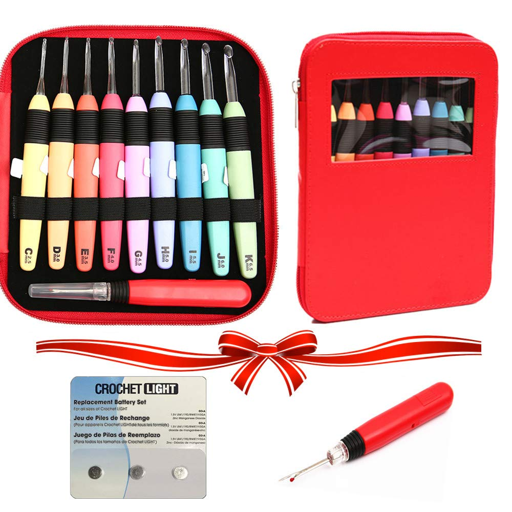 Lighted Crochet Hook Complete Set - Crochet Hooks with Bonus Replacement Batteries& Lighted Seam Ripper,Led Lite Crochet Hooks with Organizer Case, Size 2.5mm to 6.5mm Yarniss