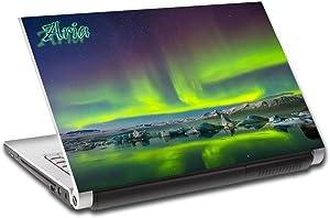 Aurora Borealis Northern Lights Personalized LAPTOP Skin Decal Sticker NAME L689, 14
