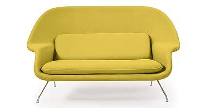 Kardiel Womb Mid Century Modern Loveseat Sofa, Dijon Danish Cashmere Wool