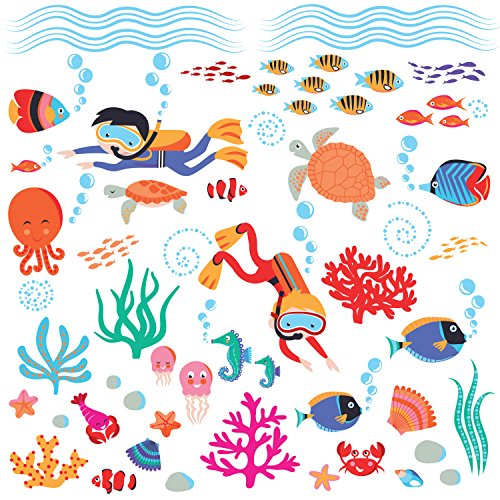 Diving into the Sea & Underwater Creatures Peel & Stick Wall Sticker Decal for Nursery or Kids Room