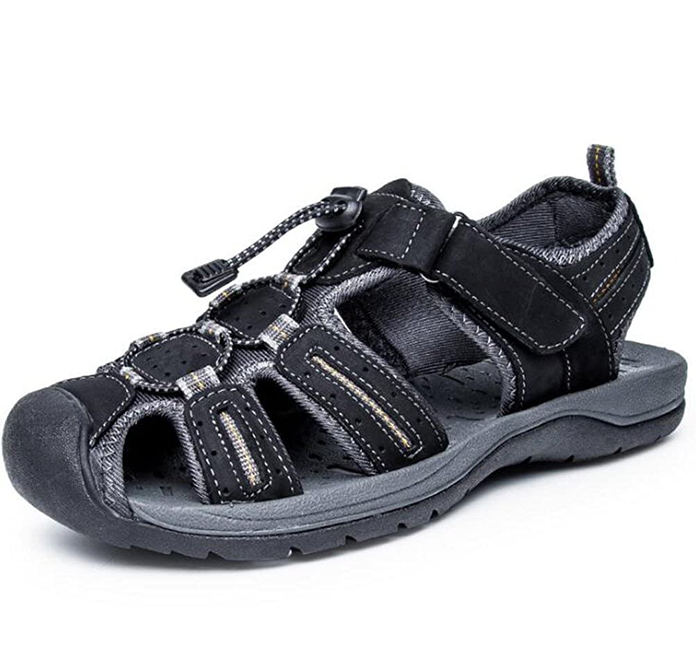 602aced1fab Scennek Sandals Men s Leather Beach Shoes Outdoor Casual Closed Toe Sandals  and Slippers  Amazon.co.uk  Shoes   Bags