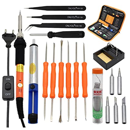 Kit de soldadura Kit hierro a soldar soldador Kit eléctrico soldar caja de herramientas electrónica temperatura ...