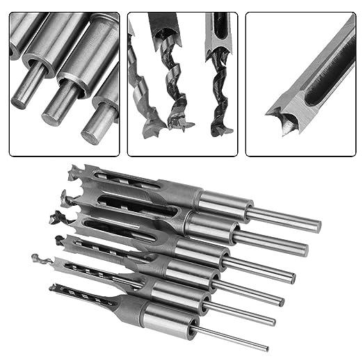 6 pezzi lavorazione del legno piazza foro punta da trapano mortasa scalpello set mortasa per strumenti di falegnameria Set di punte per trapano trapano piazza-foro