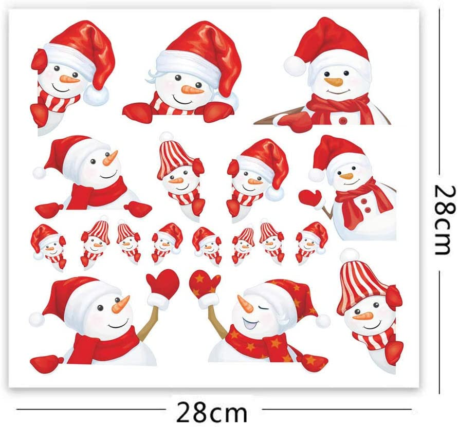 Multicolor 2019 New Christmas Decorations Wall Stickers Mural DIY Nursery Decal Living Bderoom Decor Holiday Party Home Xmas Shop Window Ouniman Cute Snowman Window Decal Clings Kids Room 1pc