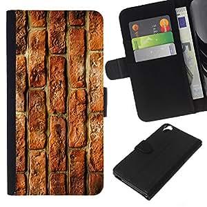 KingStore / Leather Etui en cuir / HTC Desire 820 / Calle Muro de ladrillo rojo rústico Edificio
