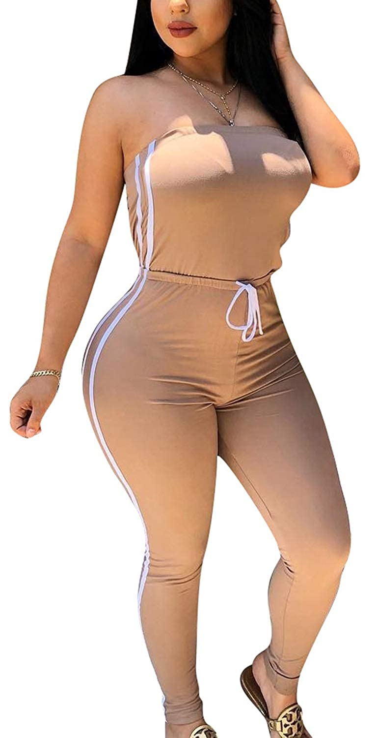 JOSSOIOJ Womens Strapless Jumpsuit Solid Color Sleeveless Bodycon Long Romper Catsuit